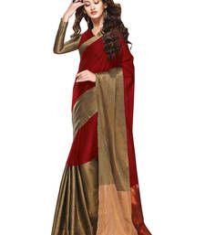 Buy red plain polyester saree with blouse south-indian-saree online