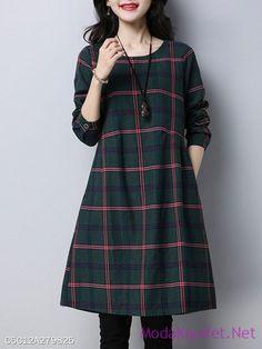 A-line Long Sleeve Casual Crew Neck Plaid Dress Indian Designer Outfits, Designer Dresses, Linen Dresses, Casual Dresses, Long Shirt Outfits, Plaid Dress, Dress Skirt, Check Dress, Mode Outfits