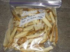 Homemade freezer fries...AMAZING IDEA. Can't wait to try it next month!
