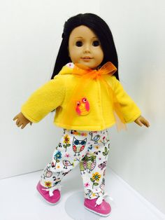 Megan is sporting a bright fleece jacket with her whimsical owl pants. Chloe's Closet, Whimsical Owl, Doll Clothes, Bright, Dolls, Sewing, Pants, Jackets, Trouser Pants