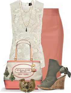 """Coral and Olive"" by glamatarian ❤ liked on Polyvore"