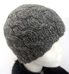 Gray Alpaca Beanie Hat Hand knit of Hand Spun yarn by Alpaca4US