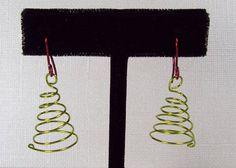 Green WIre Christmas Tree Earrings