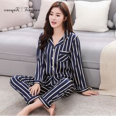 Tinyear New Korean Style Women Pajamas Turn-down Collar Sleepwear 2 Two  Piece Set Shirt 4d7fc1a0e