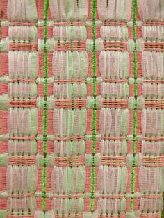 Weaving done on an 8 harness hand loom using both single and double weave structures Weaving Textiles, Weaving Patterns, Fabric Patterns, Print Patterns, Textile Texture, Textile Prints, Textile Art, Kurti Embroidery Design, Diy Embroidery
