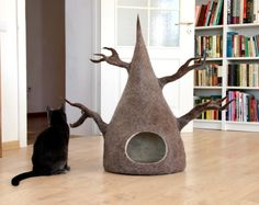 Cat house - cat bed / cave from natural wool - wool cat tree - made to order  Unique and stylish cat house for your cat handmade from natural wool.