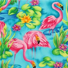 turquoise flamingo animal fabric by Timeless Treasures 1