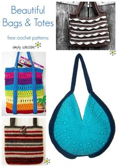 14 Free and Fabulous Bag and Tote crochet patterns, compiled by SimplyCollectibl… Crochet Round, Love Crochet, Easy Crochet, Knit Crochet, Crochet Shell Stitch, Crochet Stitches, Crochet Patterns, Crochet Ideas, Crochet Projects