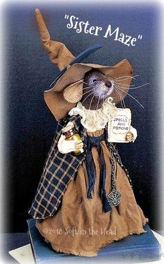 Prominent Folk Artist's Trinkets and Treasures Market Place Needle Felted Animals, Felt Animals, Needle Felting, Primitive Fall, Primitive Crafts, Mouse Pictures, Chiffons, Pet Mice, Crochet Mouse