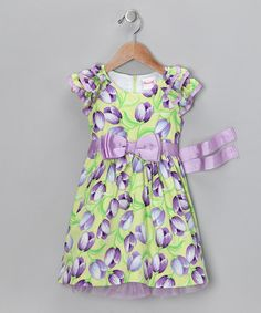 Take a look at this Green & Purple Tulip Dress - Toddler & Girls by Nannette on #zulily today!
