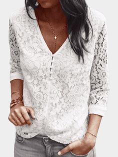 White Lace Details V-neck 3/4 Length Sleeves Hollow Design Top
