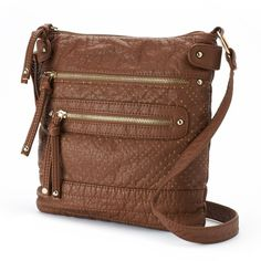 Under One Sky Perforated Crossbody Bag (Beige/Khaki) featuring polyvore, fashion, bags, handbags, shoulder bags, crossbody purse, brown handbags, faux leather crossbody purse, vegan purses and beige shoulder bag