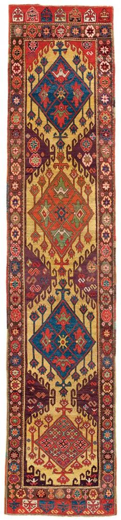 Konya Runner, Central Anatolia;Circa 1800;  original ends and sides;3ft. 3in. x 15ft. 4in.