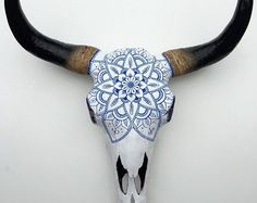 Next to bar   Gorgeous Hand Painted Faux Cow Skull with Blue Mandala