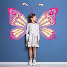 Stand in front of these whimsical wings found in the WallPops Fly Away with Me Wall Art Kit and transform yourself into a beautiful butterfly. This kit comes complete with a pair of antennas, and two wings in pink, purple, and yellow. Kids Wall Murals, Murals For Kids, Mural Art, Art For Kids, School Wall Decoration, Dibujos Tumblr A Color, Urbane Kunst, Fence Art, Butterfly Wings