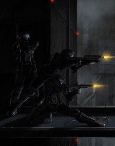 "Halo: ODST Final by *Pinkuh on deviantART<--- XD the bottom guy looks like he's training for dance or something. <--- ""Dang it Romeo, stop acting like a dramatic ballerina! Video Game Art, Video Games, Odst Halo, Science Fiction, Halo Armor, Cyberpunk Rpg, Halo Series, Halo Game, Halo Reach"