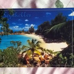 This is a postcard I received from my aunt. Dared July 2007. She was a flight attendant, and often she would send beautiful postcards from all around the world. I could dig up around 10. The Seychelles has always been a fascinating place for me. I'll explain further when I find another postcard I'd received from there. This is definitely a place to get away from everything. The calm blue ocean and palm trees speak nothing but waves of peace. I'll visit it myself one day. This is definitely going on the bucket list!