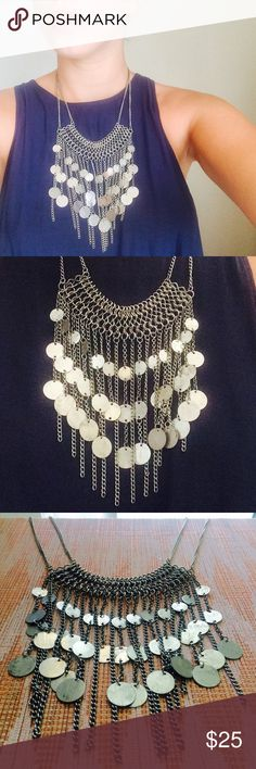 free people silver fringe boho hippie necklace a boho // hippie // rock + roll // gypsy necklace dream! silver strands of chain create a chevron of fringe w/ silver disc-like little coins dangling down. your outfit basically needs nothing else when you've got this beautiful statement piece on. Free People Jewelry Necklaces