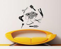 Wall Decal Beauty Salon Hair Spa Fashion Girl Woman Face Haircut Scissors Dryer Styling Decals Vinyl Sticker Wall Decor Art Mural