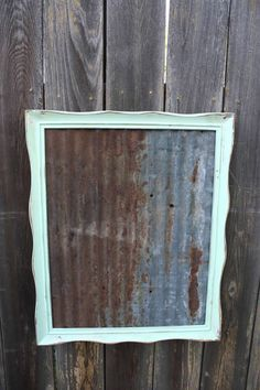 Shabby Chic Mint Green FRAMED MAGNETIC Board - Rustic Salvaged Antique Barn Tin - Rusty Farmhouse Chic - Wall Bulletin Memo Board