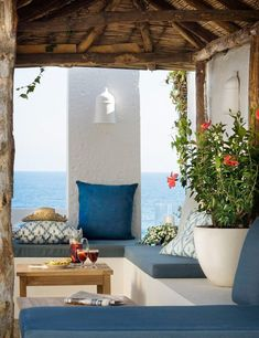 My inspiration today are these serene and stunningly beautiful Mediterranean patios. I'm completely in love with the amazing Mediterranean style :) Outdoor Rooms, Outdoor Living, Outdoor Furniture, Adirondack Furniture, Outdoor Life, Antique Furniture, Furniture Ideas, Modern Furniture, Gazebos