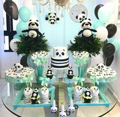 60 Trendy Baby Shower Decorations Jungle Theme First Birthday Parties Panda Party, Panda Themed Party, Panda Birthday Party, Birthday Cake Girls, First Birthday Parties, Birthday Party Decorations, First Birthdays, Panda Baby Showers, Baby Boy Shower