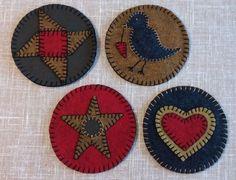 "CO-01 Mug Rugs Penny Rug Pattern set of 4 each 4 3/4"" dia. Wool Felt Folk Art #LadyLibertyTradingCompany"