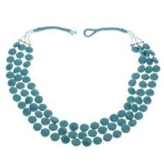 Collier bleu clair en perles - Bijou fantaisie - Idée cadeau: ShalinCraft: Amazon.fr: Bijoux