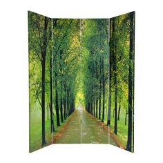 ... Of Life 4-Panel Green Wood and Fabric Folding Indoor Privacy Screen