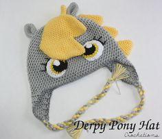 Derpy Pony Crochet Hat / Cute, Silly, Handmade, Derpy Pony Hat, Crochet Pony (MADE TO ORDER)