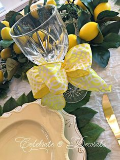 Yellow party tablescape
