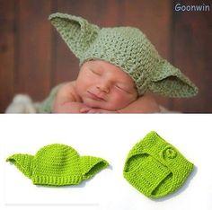 Neugeborene Baby Knit Strick Fotoshooting Star Wars Yoda Kostüm Mütze Höschen