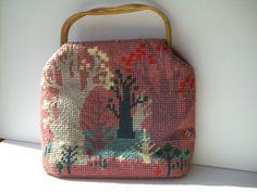 Vintage Needlepoint Knitting Bag