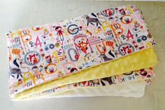 Baby girl alphabet blanket, baby girl minky blanket, baby girl flannel blanket, animal blanket on Etsy, $46.00