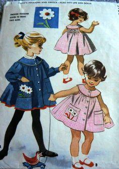 Lovely Vtg 1950s Girls Pinafore Smock McCalls Sewing Pattern 2   eBay