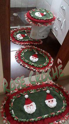 Natal a crochet Granny Square Crochet Pattern, Crochet Stitches Patterns, Crochet Motif, Crochet Doilies, Crochet Yarn, Crochet Christmas Decorations, Holiday Crochet, Crochet Home, Christmas Hat