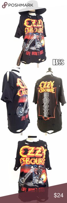 AMAZING OZZY OZBOURNE DISTRESSED BAND T-SHIRT!! AMAZING OZZY OZBOURNE DISTRESSED BAND T-SHIRT!! LIFE WONT WAIT!! Super cool graphic on the t-shirt in great condition. Distressing all over garment.                              LENGTH: 28'                                                      BUST: 20' Vintage Tops Tees - Short Sleeve
