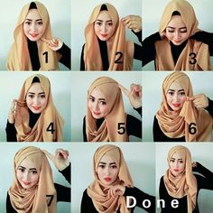 Criss Cross Hijab Tutorial - Hijab Fashion Inspiration This is a classy and stunning hijab style you can wear for weddings, parties or any special occasio Hijab Styles For Party, Wedding Hijab Styles, How To Wear Hijab, Hijab Style Tutorial, Hijab Trends, Hijab Fashion Inspiration, Muslim Hijab, Turbans, Headscarves