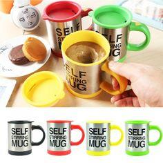 Self Stirring Stainless Steel Mug for Coffee and Tea