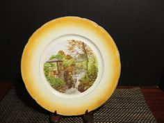 Vintage Isle of Man Groudle Glen Plate  Lusterware Orange Rare American China Co. Toronto Ohio Antique Transferware by NewOxfordVintage on Etsy