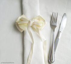 6 Pieces Romantic Classic Cream Satin Beaded Bow Napkin Rings Set. Elegant Wedding Handmade Ribbon Napkin Rings Napkin Holder