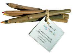 Twig Pencils - Bamboo Bundle of 6 Rainbow Colors & Graphite