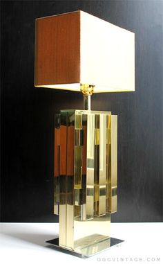 70'S HOLLYWOOD REGENCY GEOMETRIC BRASS CHROME TABLE LAMP IN THE STYLE OF PAUL EVANS - SOLD