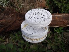 White Crocheted Jewelry Box With Gold Ribbon