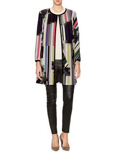 Trina Turk Jiles Collarless Printed Coat -$498 ($249) Inject adventure into polished fall style with signature bold prints