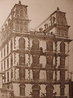 Completed in the Luneta Hotel is said to be designed by Spanish architect-engineer Salvador Farre. Vintage Pictures, Old Pictures, Philippine Architecture, Visayas, Filipiniana, Spanish Culture, Cultural Studies, Manila Philippines, Freemasonry