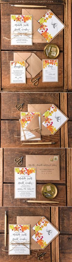 Fall Wedding Invitations with Leaves More from my site Tuscany wedding Elegant Handmade Wedding Invitations. Elegant Wedding Invitations, Elegant Invitations, Diy Invitations, Wedding Invitation Cards, Wedding Themes, Wedding Stationery, Wedding Cards, Diy Wedding, Rustic Wedding