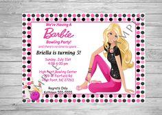 Barbie Birthday Invitation, Bowling Birthday Party, Printable Invitation, Digital Invitation, Barbie Doll Birthday, Barbie Bowling Birthday by TwoAngelsDesigns on Etsy https://www.etsy.com/listing/474921750/barbie-birthday-invitation-bowling
