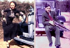 Bonnie and Clyde Colorized Photos Bonnie And Clyde Pictures, Magic Time Machine, Bonnie And Clyde Death, Real Gangster, Bonnie Parker, Colorized Photos, Romance, Famous Couples, Joker And Harley