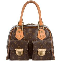 Pre-owned Louis Vuitton Monogram Manhattan PM ($645) ❤ liked on Polyvore featuring bags, brown, pre owned bags, louis vuitton, flap bag, louis vuitton bags and zipper bag